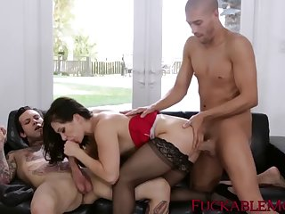 classy milf lea lexis dp drilled by stepsons with big cocks