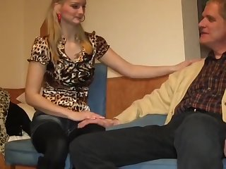 horny blonde loves her 70 yo owner of an apartment