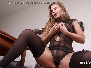 viktoria masturbates in sexy nightie and stockings